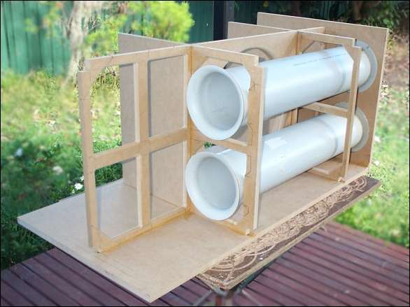 Photo of bandpass subwoofer during construction