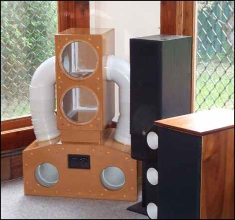 Photo of dual-driver subwoofer enclosure